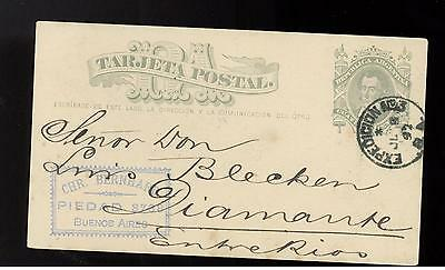 1892 Argentina postal stationery card Cover to Diamante