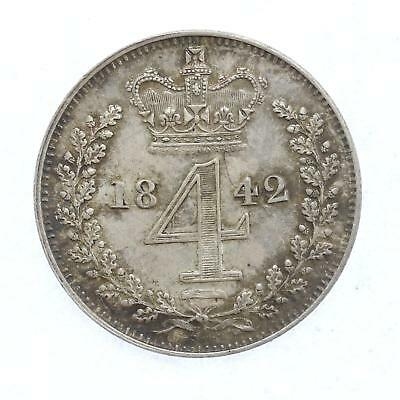1842 Queen Victoria Maundy 4d Fourpence Coin D15