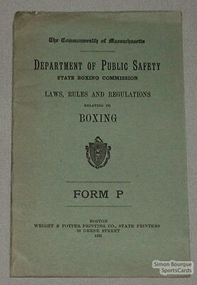 Original 1921 State Boxing Commission Rules Book