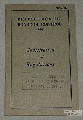 1929 British Boxing Board Const. & Regulations Booklet