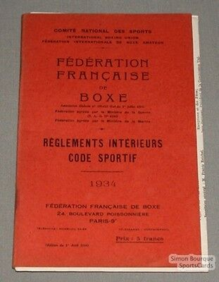 Original 1934 French Boxing Federation Rules Book