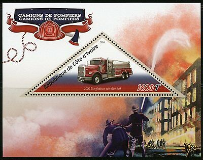 Ivory Coast 2016 Fire Trucks  Souvenir Sheet Mint Never Hinged