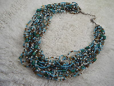 Southwestern Blue White Brown Micro Glass Bead Multi Strand Necklace (A10)