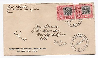 1946 Fiji Cover from US Shipping Administration w/ two 1 Shilling 5 pence stamps