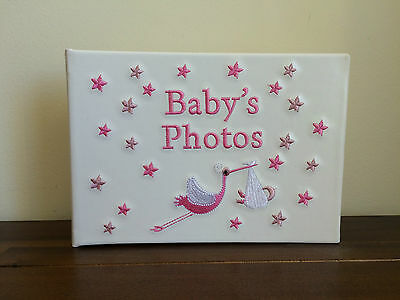 Newborn Baby Girl Photo Album/Brag Book Gift Pink Stork SMALL FAULT