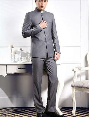 Mens slim Single-breasted Stand Collar Dress mao Suits Chinese tunic Coat pants