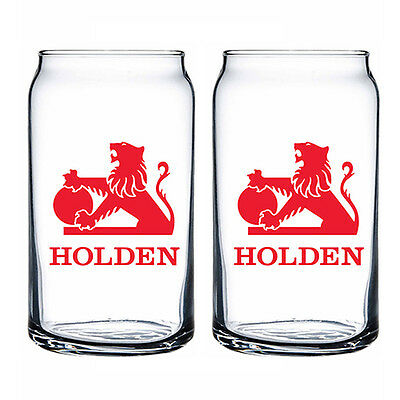 Holden Collector Can Shaped Glass Glasses Set of 2 Spirit Beer Bar Man Cave Gift