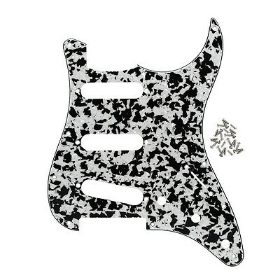 NEW Black/White Agate FD Strat SSS Style Guitar Pickguard 11 Holes with Screws