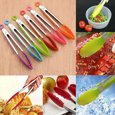 Silicone Cook Salad Serving BBQ Ice Tongs Stainless Steel Handle Kitchen Tools