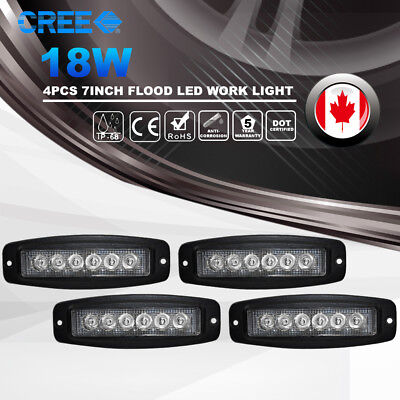 4x7Inch 18W CREE Flood LED Work Light Bar Flush Mount Offroad Driving 4WD SUV Bo