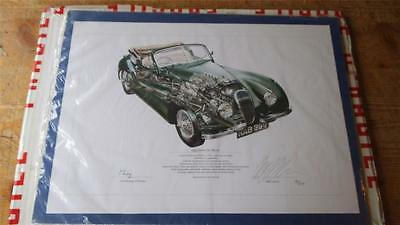 Jaguar 1954 Xk120 Cut Away Print Limited Edition Of 250 Signed By Lord Montagu