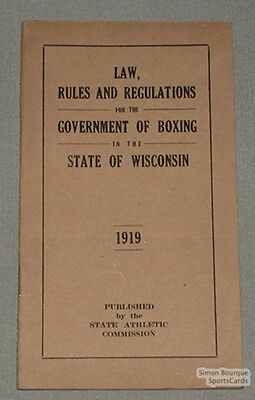 1919 Wisconsin Government of Boxing Rules Booklet
