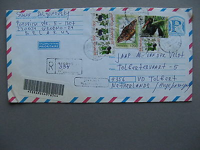 BELARUS, R-cover to the Netherlands 2006, stamp ao butterfly bird WWF