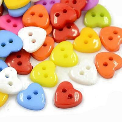 Pack of 50+ Mixed Acrylic 12mm Heart Buttons (2 Hole) HA07215
