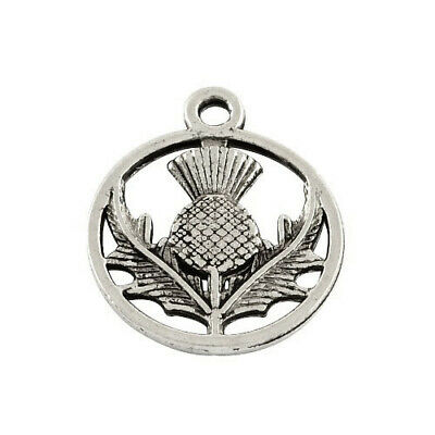 Packet of 20 x Antique Silver Tibetan 19mm Charms Pendants (Thistle) ZX11535