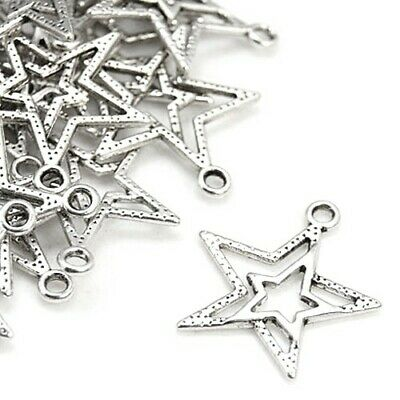 Star Charm/Pendant Tibetan Antique Silver 23mm  20 Charms Accessory Jewellery