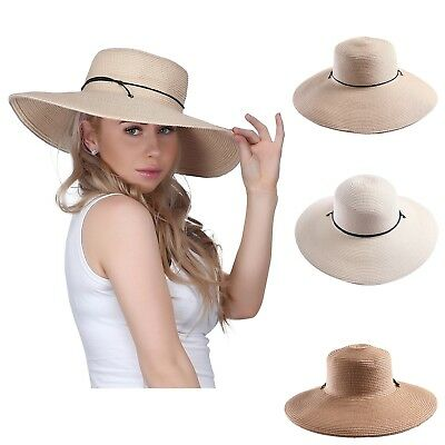 Women's Packable Floppy Brim Sun Hat Sun Visor Crushable Beach Straw Derby Hat