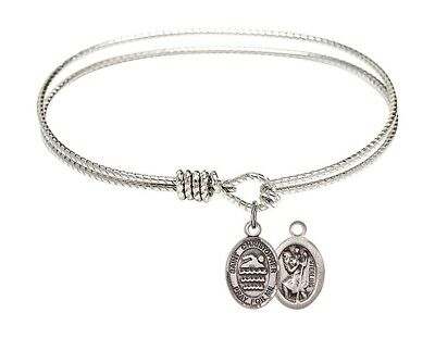 Silver Tone  Bangle Bracelet with Saint Christopher Swimming Charm, 6 1/4 Inch