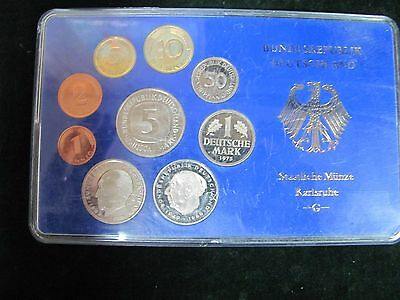 1975-G West Germany 9 Coin Proof Set - Karlsruhe Mint
