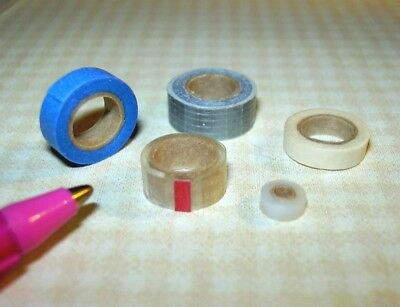 Miniature Amazing Rolls of Real Tape! (5 in Set) for DOLLHOUSE 1/12 Scale