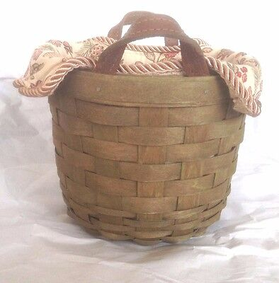 Small Fruit Basket Protector Autumn Path Liner Olive Green Leather Longaberger