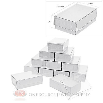 """12 White Clear View Vu Top Cotton Filled Jewelry Gift Boxes 2 5/8"""" x 1 1/2"""""""