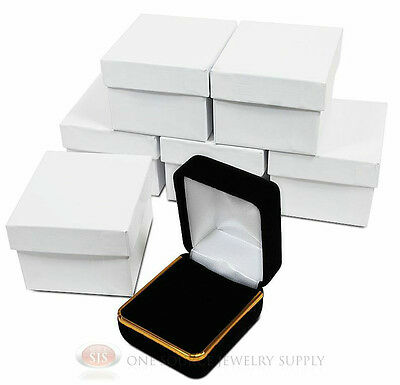 "(6) Black Velvet Ring Jewelry Gift Boxes Gold Trim 1 7/8"" x 2 1/8"" x 1 1/2""H"