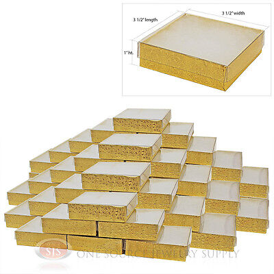 """50 Gold Foil View Top 3 1/2"""" X 3 1/2"""" Cotton Filled Gift Boxes  Jewelry Box"""