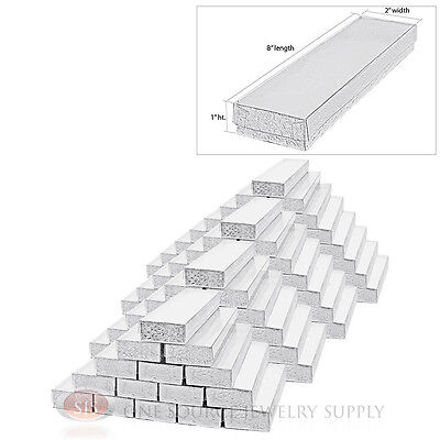 """100 Silver Foil View Top Cotton Filled Gift Boxes 8"""" X 2"""" Jewelry Bracelet Box"""