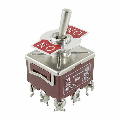 1Pcs 3PDT ON/ON 2 Position 9 Pin Panel Mount Toggle Switch 10A/380VAC 15A/250VAC