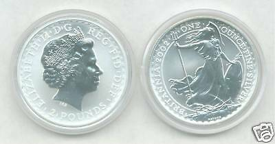 2002 Uncirculated 1 OZ. SILVER BRITANNIA - Silver Coin & Capsule - Low Mintage