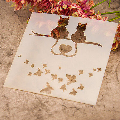 Cat Butterfly Layering Dies Stencil Template DIY Scrapbooking Painting Tool