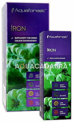 AQUAFOREST IRON 10ml 50ml GREEN COLOUR ENHANCEMENT CORAL CLAM MARINE FISH TANK