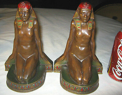 Antique Art Deco K&O Bronze Nude Egyptian Revival Statue Sculpture Bookends Usa