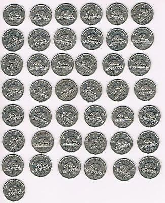 1957 Lot of 40 Canada Five Cents (5Cents) Coins-Nice Grade