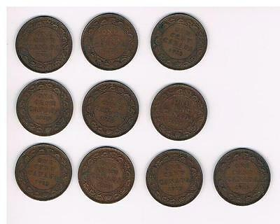 1915 Lot of 10 Canada Large Cent Coins-Nice Grade