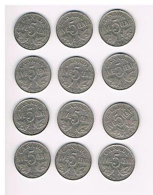 1924 Lot of 12 Canada Five Cents (5Cents) Coins-Nice Grade