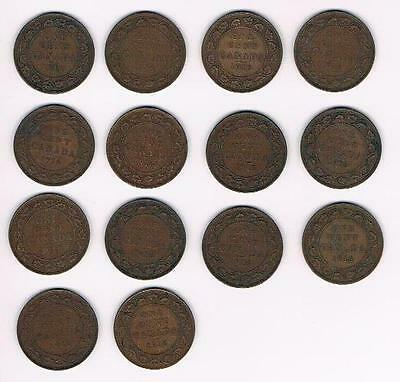 1916 Lot of 14 Canada Large Cent Coins-Nice Grade