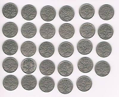 1936 Lot of 29 Canada Five Cents (5Cents) Coins-Nice Grade