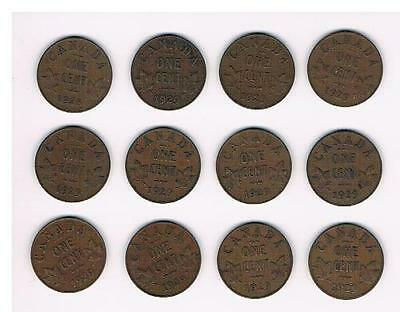 1929 Lot of 12 Canada Small Cent Coins-Nice Grade