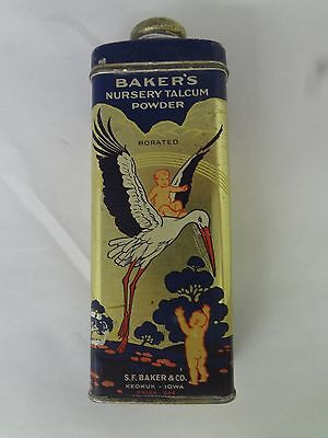 Vintage Advertising Baker's Nursery Talcum Powder Tin Collectible  799-T