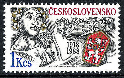 Czechoslovakia 2684, MNH. Woman, Natl. Arms, Linden Branch, 1988