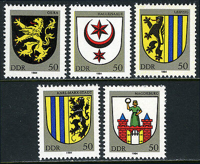 Germany DDR/GDR 2398-2402, MNH. City Arms. Gera, Halle, Leipzig, Magdeburg, 1984