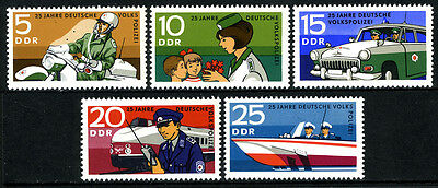 Germany DDR/GDR 1210-1214, MNH. People's Police, 25th anniv. Transportation,1970