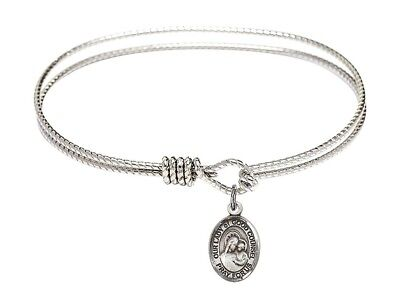 Silver Tone Bangle Bracelet with Our Lady of Good Counsel Charm, 7 1/4 Inch