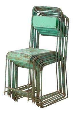SET OF 10 STACKABLE METAL 1950's PAINTED CHAIRS