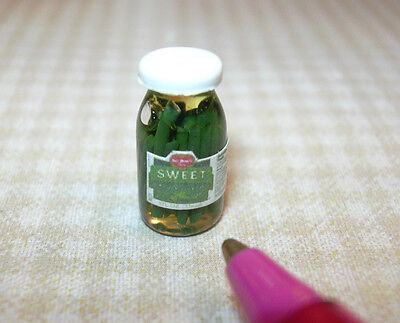 Miniature Glass Jar of Pickles/White Lid for DOLLHOUSE, 1/12 Scale