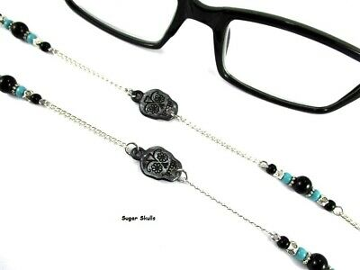 Sugar Skull Turquoise Black Onyx Eyeglasses Halloween Day of Dead Necklace Chain