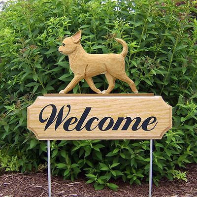 Chihuahua Oak Wood Welcome Outdoor Yard Sign Fawn