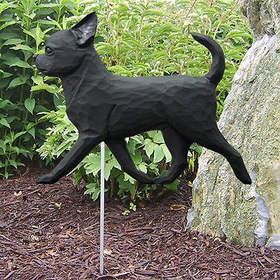 Chihuahua Outdoor Garden Sign Hand Painted Figure Black